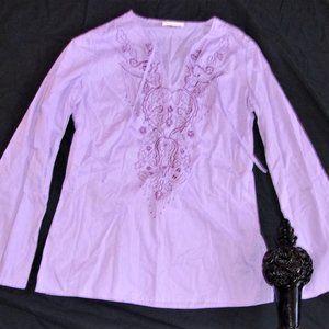 small womens tunic top shirt long sleeved purple